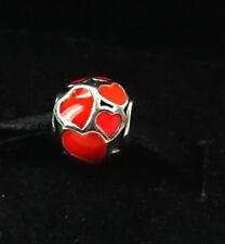 Authentic PANDORA Sterling Silver Love You, Red Enamel Bead Charm 790543EN17