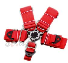 "Universal 5-Point 3"" Inch Cam Lock Camlock Racing Seatbelt Seat Belt Harness Red"