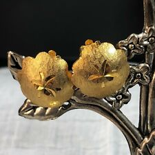Vintage Goldtone Button Clip-on Textured Earrings