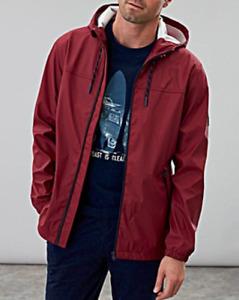 Joules Men's Hooded Jacket Waterproof Logo Jacket Top - Deep Red - New