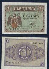 ESPAÑA año 1938. 1 peseta FEBRERO serie F. Nº 2562893. Escudo de Franco. RARA.