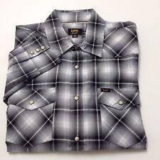 LEE Mens Western Pearl Snap Button Front Long Sleeve Plaid Shirt Gray Black Sz M