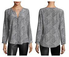 Joie Women Purine Silk Animal Print Black White V Neck Longsleeve Blouse XS $268