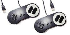 2 x PC USB SNES Classic Dogbone Style Black Retro Control Joy Pad Controller UK