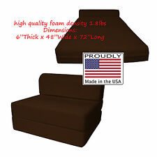 Full Size Brown Sleeper Chair Folding Foam Beds 6 x 48 x 72 High Density Foam