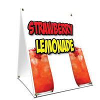 A-frame Sidewalk Sign Strawberry Lemonade With Graphics On Each Side