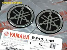2x YAMAHA GENUINE 45MM TUNING FORK LOGO BLACK SILVER DECAL EMBLEM STICKER