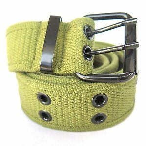 High Quality Men Women Unisex 2 Holes Grommet Stitched Military Web Canvas Belt