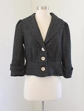Sanctuary Clothing Black White Polka Dot Cropped Blazer Jacket Size L 3/4 Sleeve