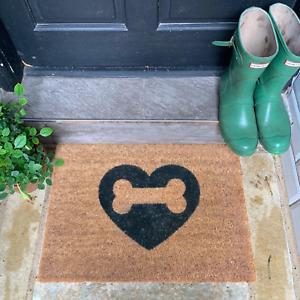 Dog Love Coir Doormat: Natural Indoor Outdoor Heart Welcome Durable Non slip UK