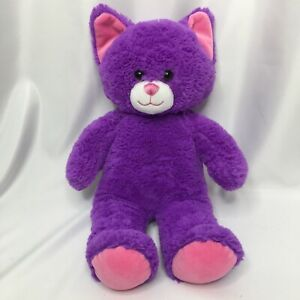 Build a Bear BABW Purple Cat 15 inch Pink Ears and Paws  2017