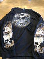 Motorcycle Men's XL Black Cotton Long Sleeve T-Shirt XXL Biker Born