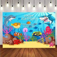 Shark Photography Backdrop Baby Shower Birthday Party Photo Background Banner