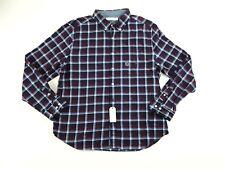 Nautica Mens Shirt 2XL XXL Long Sleeve Brushed Twill Navy Plaid Button Front NWT