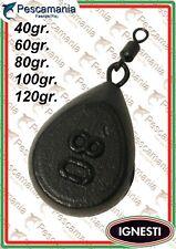 Plomb Ignesti Plat Pear Pêche à la Carpe Gr 40-60-80-100-120