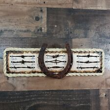 Antique Barbed Wire Display Authentic Barbwire Collection with Large Horse Shoe
