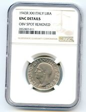 Italy Lire 1943-R XXI NGC UNC Details   lotfeb3229
