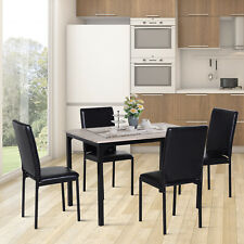 5pcs Kitchen Dining Table Set 4 Chairs 1 Table Padded Seat PU Upholstery