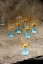 Série de 6 verres à pied Portieux Verrerie Jaune et bleu