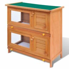 Outdoor Rabbit Hutch Small Animal House Pet Play Cage 4 Doors Wood Chicken Far