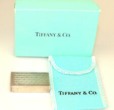 VTG TIFFANY & CO STERLING SILVER PILL BOX ENGRAVED LINES SLIDES OPEN POUCH & BOX