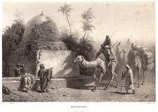 Wüstenbrunnen, Araber auf Dromedaren, Kamel, Original-Tonlithographie 1853
