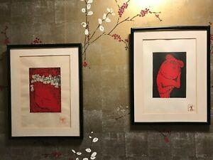Two KAORU KAWANO Signed Original Woodblock Prints Mid Century Japan