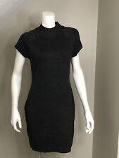 e99e349a3aeb Apt. 9 Cap Sleeve Mock Neck Embellished Sweater Knit Dress Sz M Gray