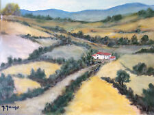 Expressionniste Provence paysage gouache Jungo 2ème moitié XXème