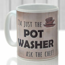 Pot Washer mug. Funny gift for any cook in rustic coffee colour design
