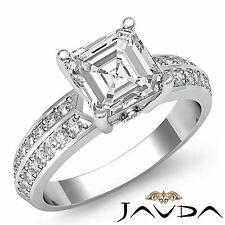 Asscher Cut Diamond Pre-Set Engagement Ring GIA H Color SI1 14k White Gold 1.3ct