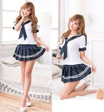 Japanese Style White& Navy Sweet School Girl Cosplay Fancy Dress Costume, UK S-M