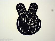 "NOVELTY BIKER SEW/IRON ON PATCH:- HAND FINGER SALUTE BLACK ""V for VICTORY"""