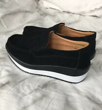 NEW Black Suede Wedge Sneaker Shoes with White Soles Size US 4.5 / 5 (35)