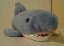 """Rare 1996 Retired Ty Gray Shark Crunch Plush 10"""" NWT Beanie Original Baby"""