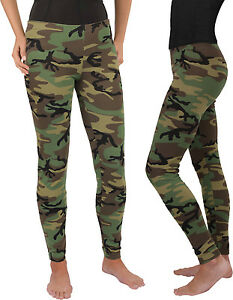 Women's Camo Full Length Stretch Pants Leggings Spandex Yoga Active Army Green
