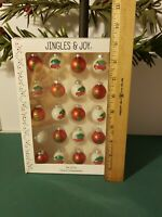 "20 VINTAGE Mini GLASS 1"" FEATHER TREE PUTZ CHRISTMAS ORNAMENTS HAND PAINTED"