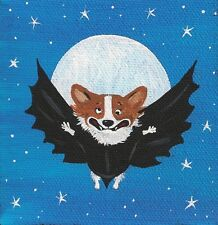 4X4 Print Of Painting Ryta Pembroke Welsh Corgi Halloween Dracula Bat Humor Fun
