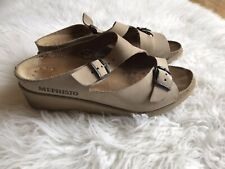 Mephisto Size 38 Tan Nubuck Leather Wedge Sandals Comfort Shoes Preowned