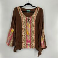 Judith March Woman's Size L Brown Southern Boho Embroidered Bell Sleeve Blouse