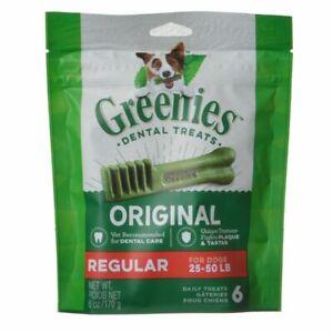 LM Greenies Original Dental Dog Chews Regular - 6 Treats - (Dogs 25-50 lbs)