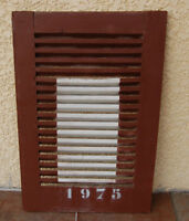 volet persienne en bois ancienne customiser 1975 marron et blanche