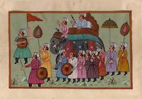 Mughal Emperor Procession Painting With Paper Mount Fine Miniature Art Gallery