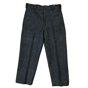 NEW Vintage 1990 Woolrich Charcoal Red Check Wool Hunting Pant Men's W34 X L28