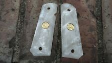 Colt GOVT 1911 Grips White Pearl with Gold Colt Horse EMBLEM Awesome!Made USA *H