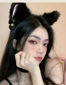 Pair White Cat Ear Fur Ears Hair Clip Headwear Anime Cosplay Halloween Costume
