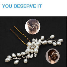 5pcs Pearl Flower Crystal Hair Pins Vintage Wedding Bridal Bridesmaid Side Comb
