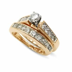 Pre-Owned 14k Yellow Gold Diamond Ring Set 1.05ct