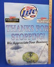 Miller Lite Beer Ice Fishing Poster Thanks For Stopping Business Genuine Draft