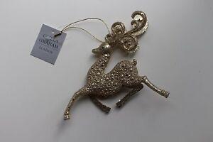 Gisela Graham Set of 2 Gold Glitter Prancing Reindeer Christmas Decoration 11768